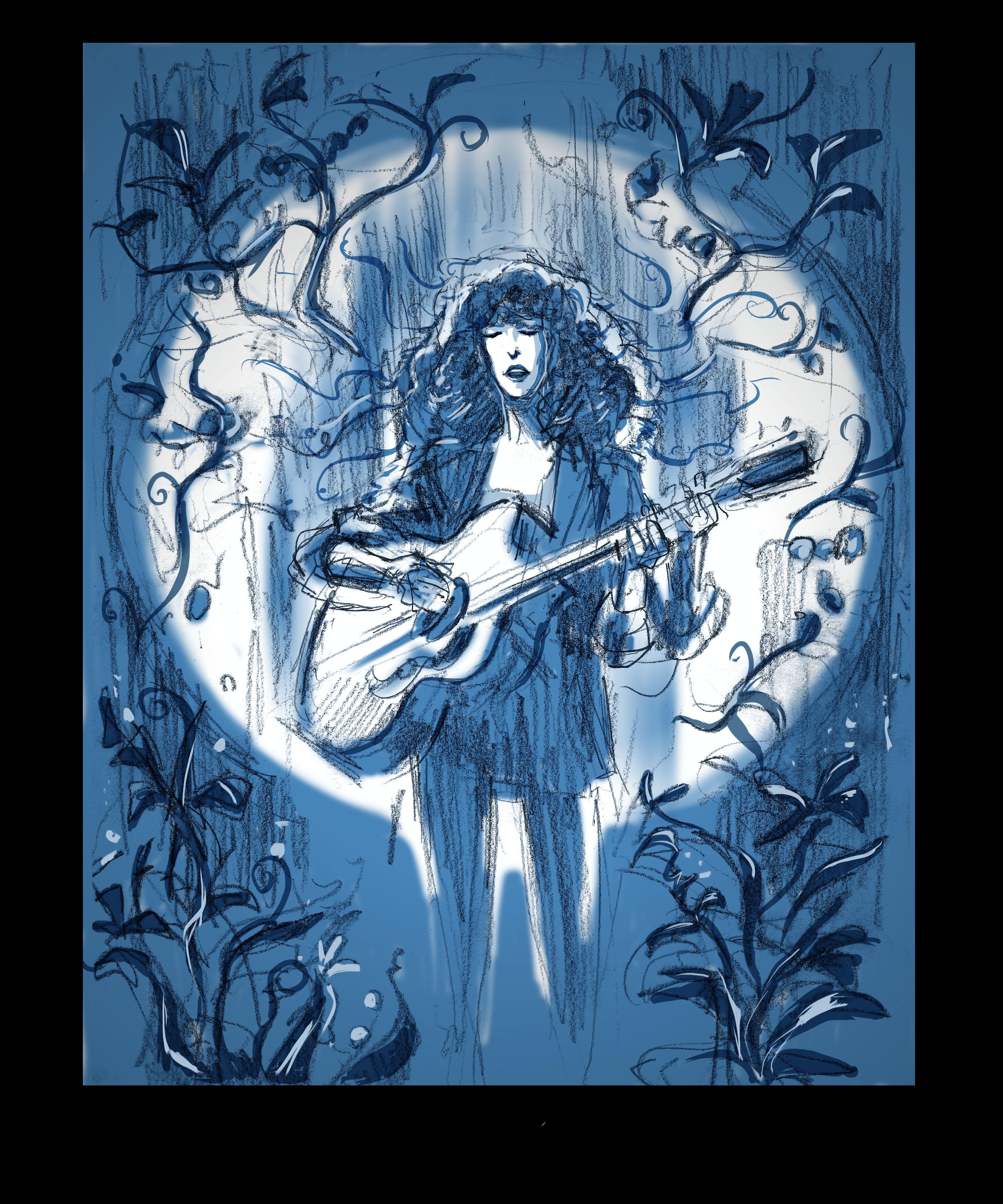 Diane sur croquis bleu